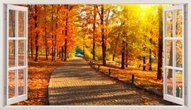 Wandtattoos: Panorama Straße Park im Herbst 3