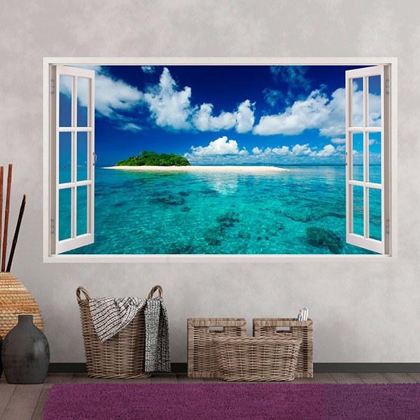 Kunststoff 3d Panorama Meer Und Insel In Der Karibik Webwandtattoo Com