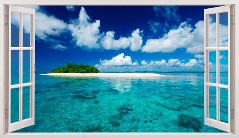 Wandtattoos: Panorama Meer und Insel in der Karibik