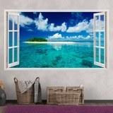 Wandtattoos: Panorama Meer und Insel in der Karibik 3