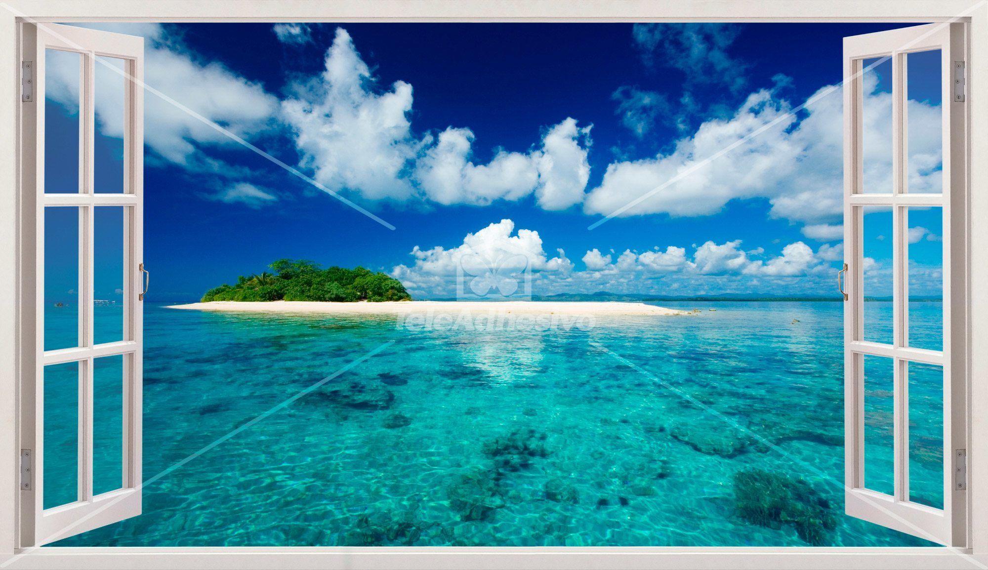 Panorama Meer Und Insel In Der Karibik