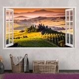 Wandtattoos: Panorama Toskana Italienische Landschaft 3
