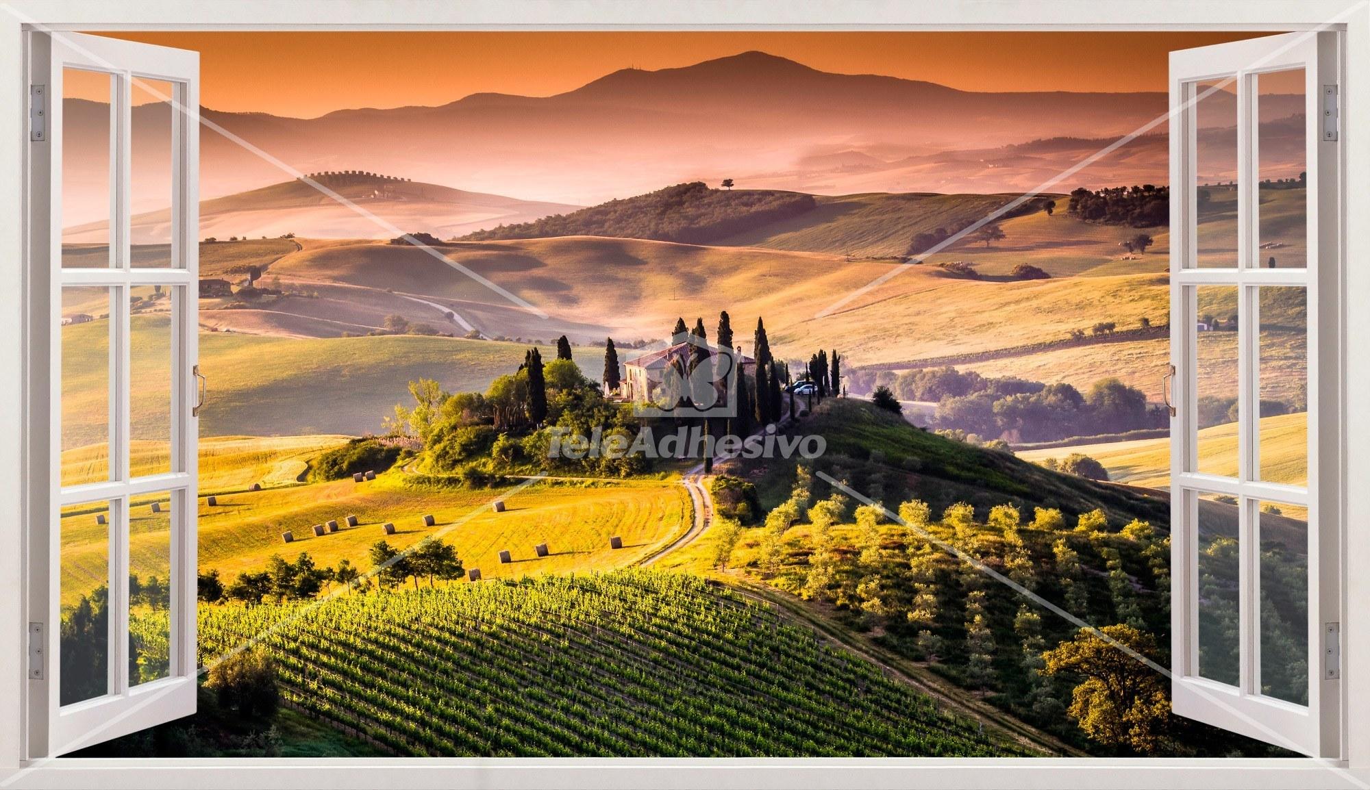 Wandtattoos: Panorama Toskana Italienische Landschaft