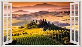 Wandtattoos: Panorama Toskana Italienische Landschaft 5
