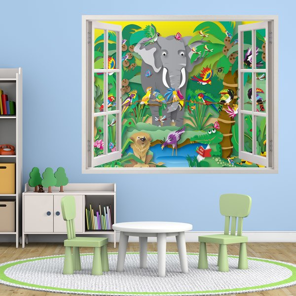 wandtattoo 3d effekt fenster f r kinder. Black Bedroom Furniture Sets. Home Design Ideas