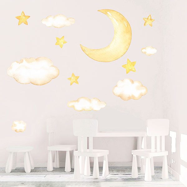 Wandtattoo babyzimmer kit mond, wolken und aquarellsterne ...