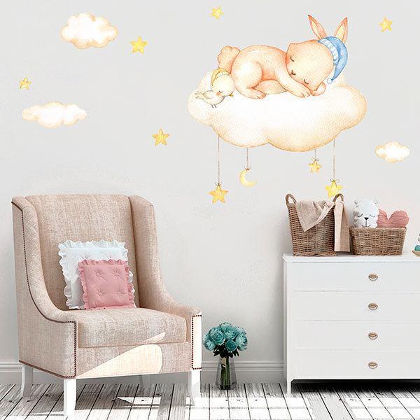 Wandtattoo kinder Kit Kaninchen schläft auf Wolken ...