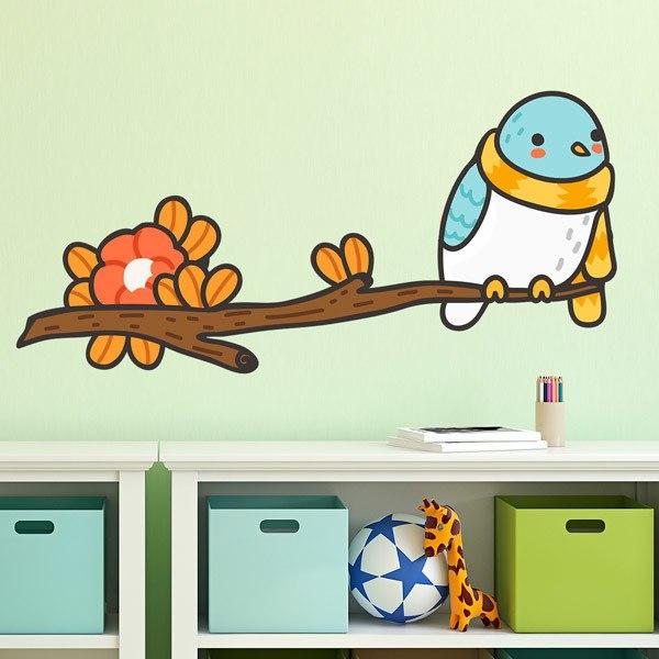 Kinderzimmer Wandtattoo Vogel mit einem Schal auf dem Ast