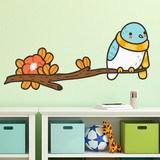 Kinderzimmer Wandtattoo: Vogel mit einem Schal auf dem Ast 3