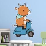 Kinderzimmer Wandtattoo: Kuh und Motorrad-Vespa 3