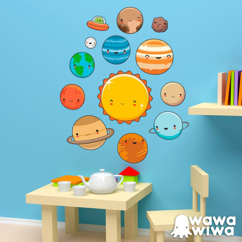 Kinderzimmer Wandtattoo: Raum Planeten Kit