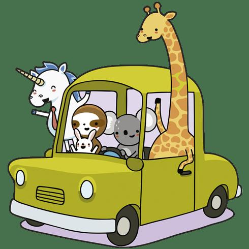 Kinderzimmer wandtattoo auto beladen mit tieren - Wandtattoo kinderzimmer auto ...