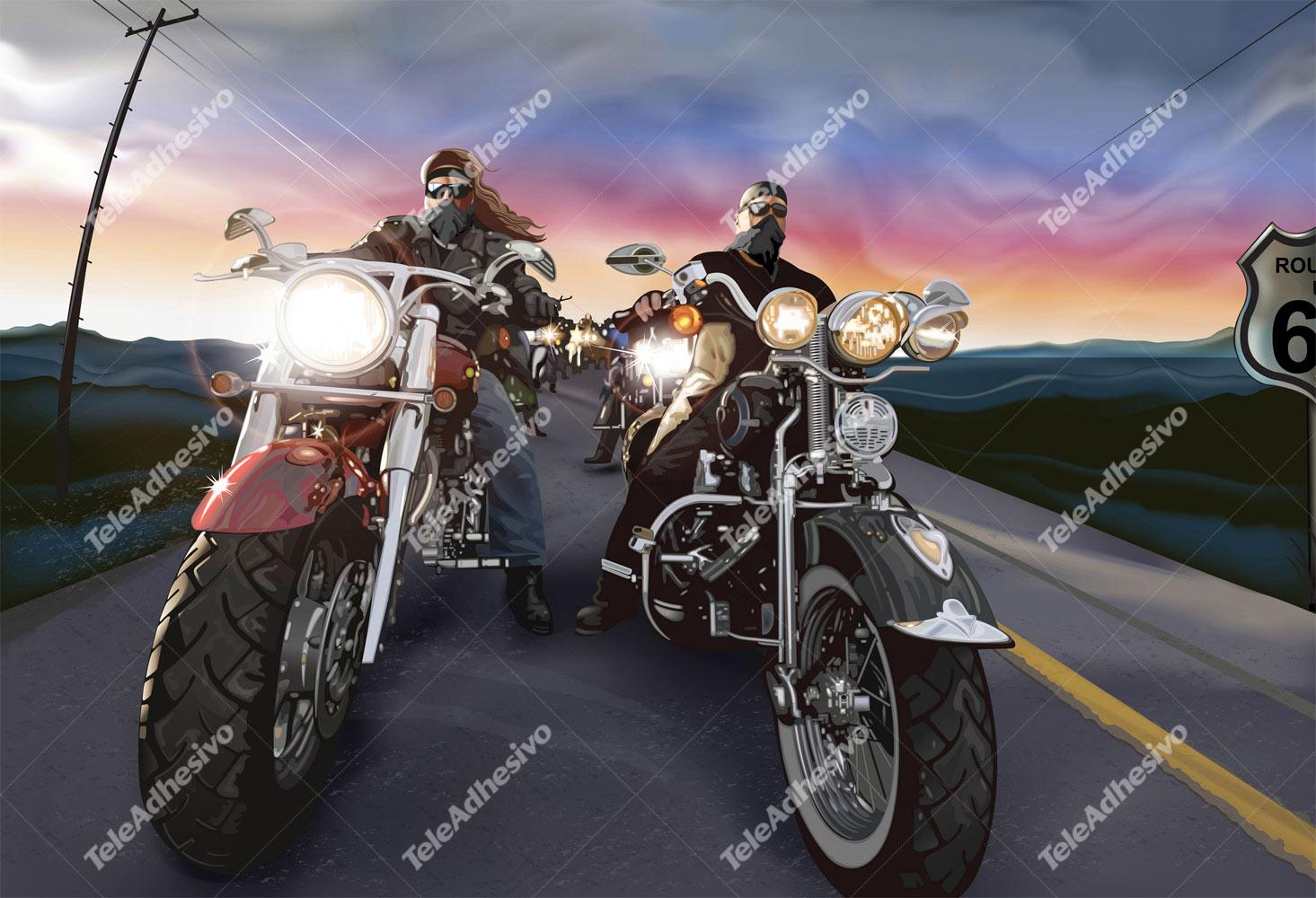 Fototapeten: Comic bikers