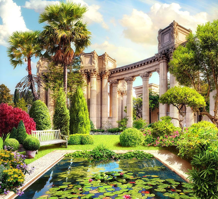 Fototapeten: Teich und korinthischen Säulen