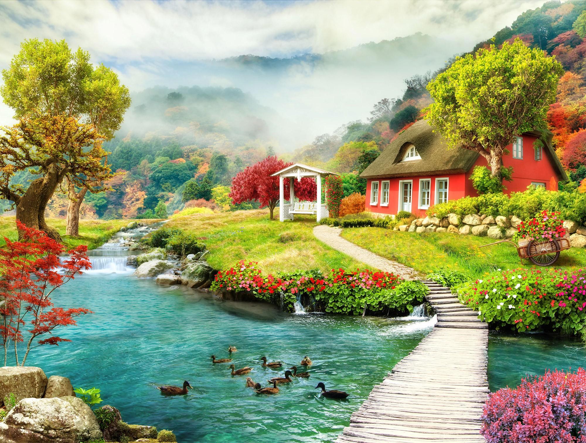 Fototapeten: Ferienhaus am Fluss
